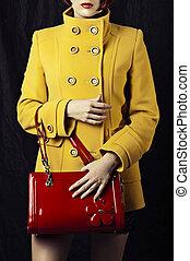jas, mode, rood geel, zak