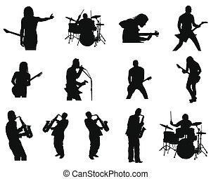 jazz, set, silhouettes, rots