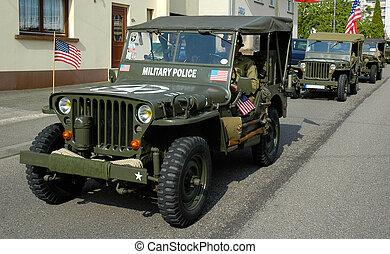 jeep, oud, drie, mp