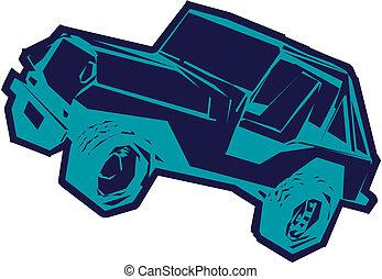 jeep, spotprent, vector