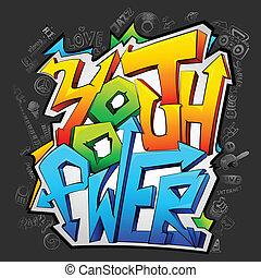 jeugd, graffiti, macht