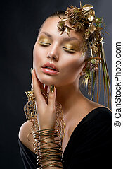 jewelry., gouden, mode, makeup, verticaal, model