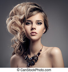 jewelry., verticaal, vrouw, mode, luxe