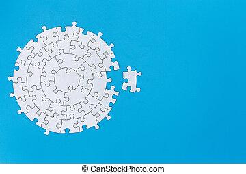 jigsaw, achtergrond, ontbrekende stukken, kopie, piece., blauwe , eind-, raadsel, witte , vervolledigen, task., ruimte