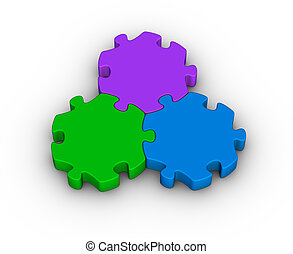 jigsaw, drie, stukken