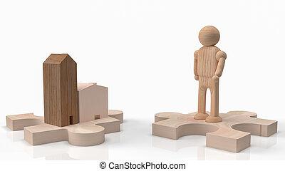 jigsaw, hout, thuis, figuur, vertolking, man, inhoud, of, autotransport, 3d