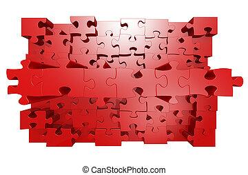 jigsaw, rood, effect, 3d, raadsel