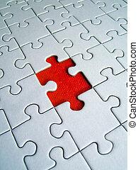 jigsaw, rood, element