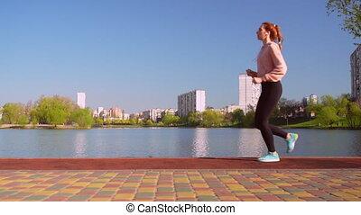 jogger, looppas, kaukasisch, buitenshuis