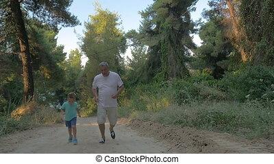 jogging, bos, kleinzoon, grootvader