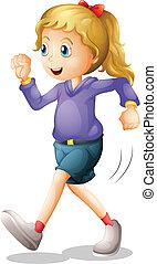 jogging, jonge dame