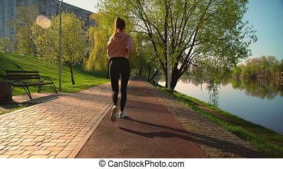 jogging, vrouw, aanzicht, back, buitenshuis