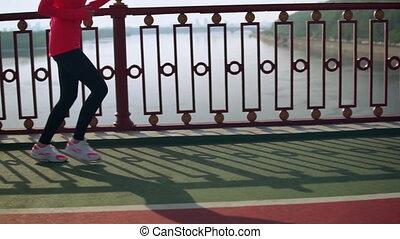 jogging, vrouw, buitenshuis