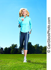 jogging, woman., vrolijke
