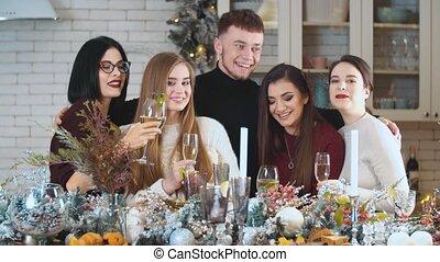 jonge, groep, mensen, bril, champagne