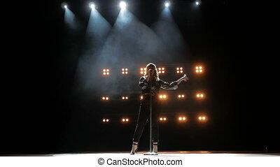 jonge, rokerig, toneel, mooi, lied, helder, achtergrond., zingt, zinger