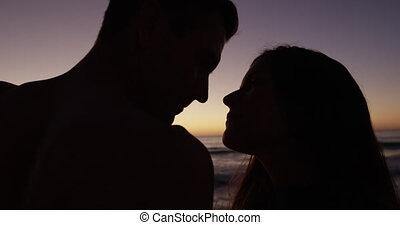 jonge volwassene, paar, kust, relaxen