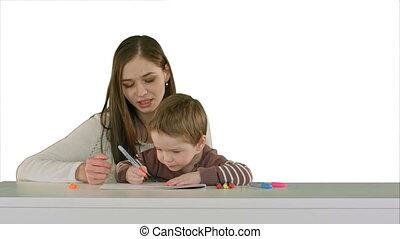 jongen, achtergrond, vrijstaand, samen, mamma, tafel, witte , schilderij, geitje