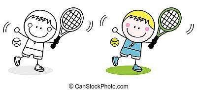 jongen, badminton, speler
