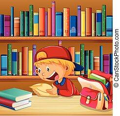 jongen, bibliotheek