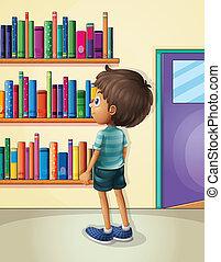 jongen, binnen, bibliotheek