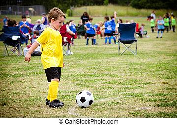 jongen, bond, georganiseerd, jonge, spel, kind, gedurende, voetbal, spelend