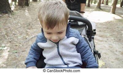jongen, door, ritten, wandelaar