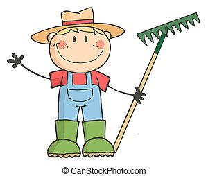 jongen, farmer, kaukasisch