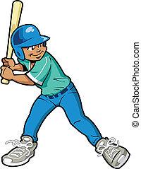 jongen, frituurdeeg, honkbal