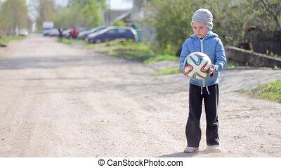 jongen, gamed, football., voetbal, spelend, geitje
