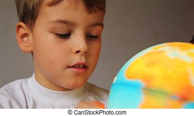 jongen, globe, informatietechnologie, shone, blik, radvormigen