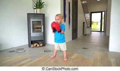 jongen, home., handschoenen, gimbal, boxing, motie, schattig
