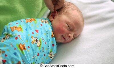 jongen, hospital., haar, zorgen, bed, slapende, pasgeboren, moederschap