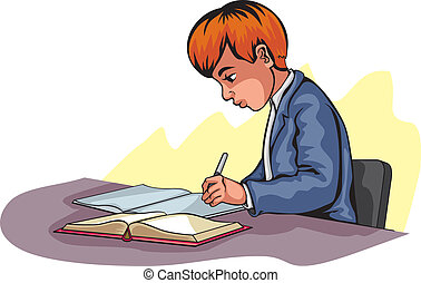 jongen, jonge, schrijvende