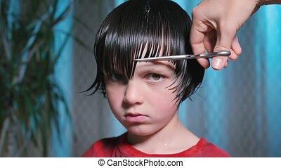 jongen, kam, omgooien, zijn, haircut., haar, kapper, comb.