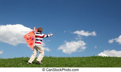 jongen, looppas, weide, vlieger