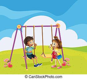 jongen, meisje, speelplaats
