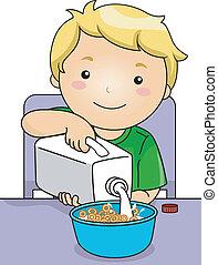 jongen, melk, gieten