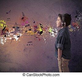 jongen, muziek, jonge, het luisteren