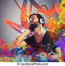 jongen, muziek luisteren