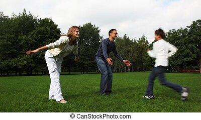 jongen, omvat, gezin, park, akker, kussen, meisje, turnes