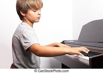 jongen, piano, jonge, spelend