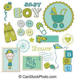 jongen, set, -, douche, communie, ontwerp, baby, plakboek