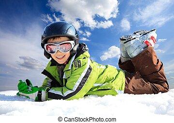 jongen, ski dracht