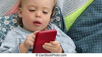 jongen, smartphone, het schouwen grafisch, kind, baby