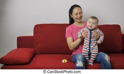 jongen, sofa, sprong, leren, moeder, baby