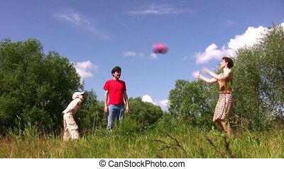 jongen, spelen bal, gezin