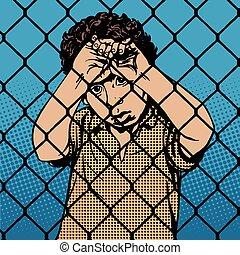 jongen, staaf, migrants, vluchteling, kind, achter, gevangenis, grens
