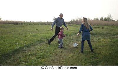 jongen, toddler, gezin, buitenshuis, voetbal, spelend