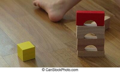 jongen, toneelstuk, oud, houten huis, blokjes, jaren, 3, bouwen, kind, home.